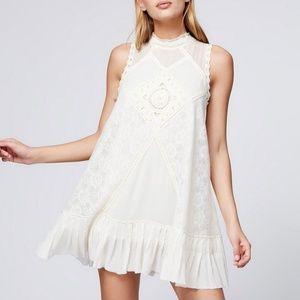 Free People Angel Lace Sleeveless Mini Dress Cream